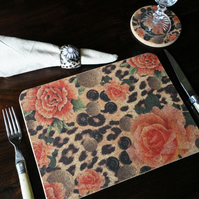 Two Orange Rose & Skin Rectangular Placemats