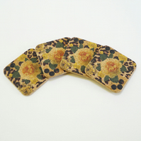 Four Yellow Rose and Skin Print Square Coasters