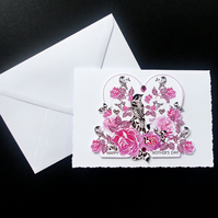 Pink Rose and Bird Handcrafted Mother's Day Card