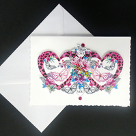 Pink Heart and Butterfly Handcrafted Card