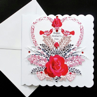 Heart and Red Rose Mother's Day Card.
