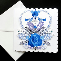 Heart and Blue Rose Mother's Day Card