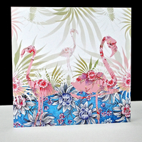 Pineapple Fern Flamingo Card