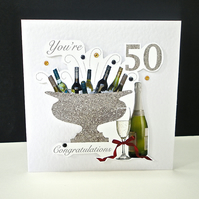 Celebration Bottles 50th Birthday Card
