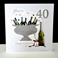 Celebration Bottles 40th Birthday Card