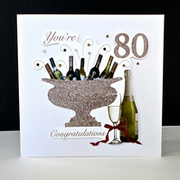 Celebration Bottles 80th Birthday Card