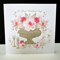 Pink Rose Display Wedding Handmade Card
