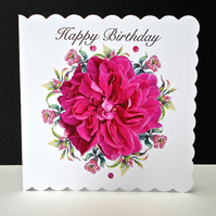 Cerise Rose Handmade Birthday Card