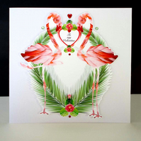 Flamingo and Palm Valentine Card