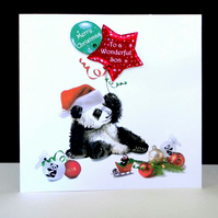 Panda Merry Christmas - To A Wonderful Son Handmade Card