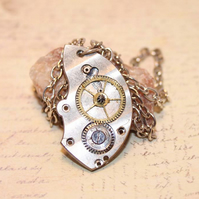 Upcycled Repurposed Vintage Watch Crescent Steampunk Pendant Silver Necklace