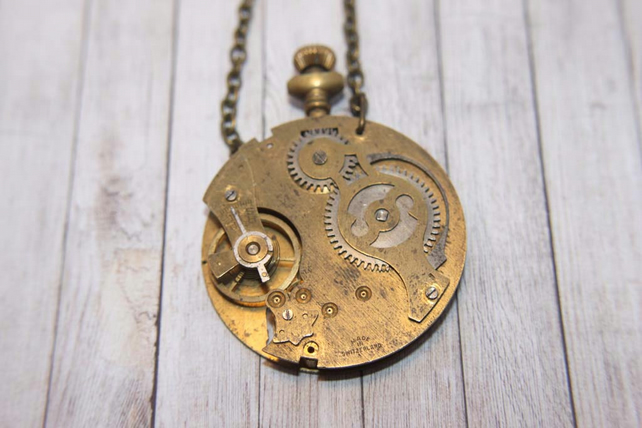 Vintage Pocket Watch Steampunk Statement Gold Necklace