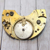 Upcycled Repurposed  Vintage Watch Steampunk Handmade Gold Brooch Pin