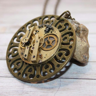 Filigree Steampunk Statement Vintage Watch Part Gold Necklace