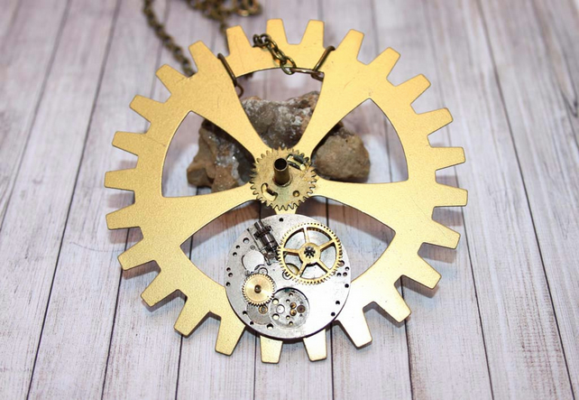 Vintage Steampunk Clockworks Cog Statement Gold Necklace