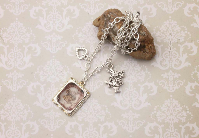 White Rabbit Alice in Wonderland Heart Charm Silver Necklace