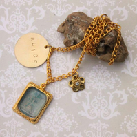 Alice in Wonderland Fairytale Frame Charm Flower Charm Gold Necklace