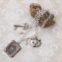 Alice in Wonderland Frame Charm Key Charm Cat Charm Silver Necklace