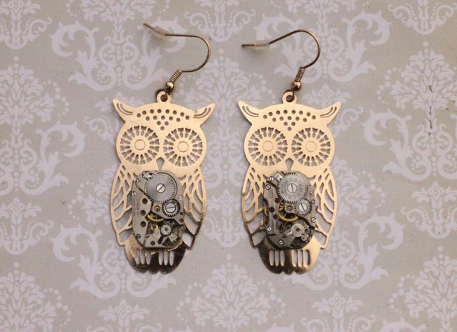 Owl Charm Vintage Watch Steampunk Dangle Hook Gold Earrings