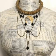 Upcycled Repurposed Steampunk Vintage Watch Part Beads Statement Choker Necklace