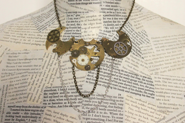 Upcycled Repurposed Steampunk Vintage Watch Part Statement Antique Gold Necklace