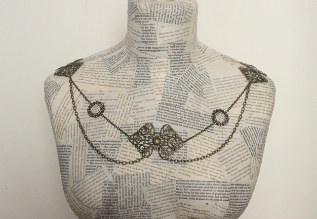 Vintage Steampunk Shoulder Necklace Wedding Accessory Bare Shoulder Cover