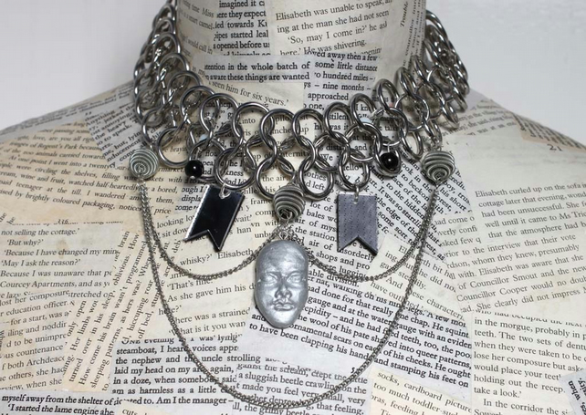 SALE Modern Dieselpunk Circle and Face Statement Silver Necklace Choker