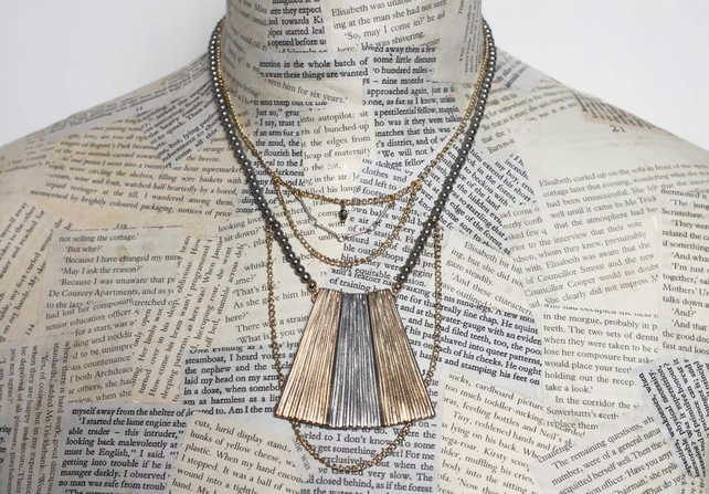 SALE Dieselpunk Statement Multi Chain Silver and GoldPendant Necklace