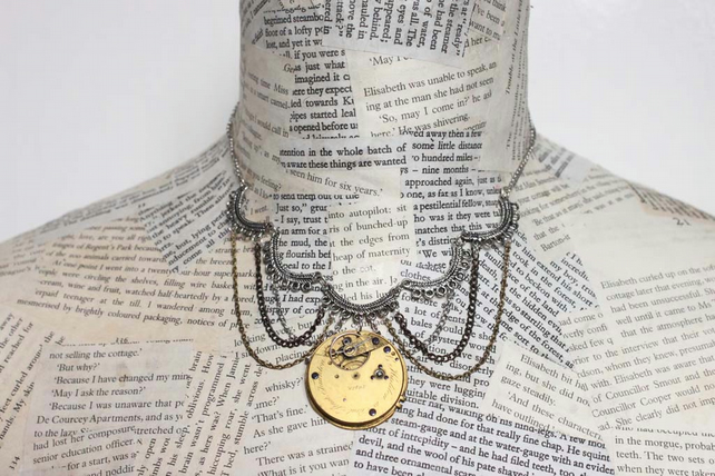 Upcycled Repurposed Vintage Watch Part Steampunk Statement Necklace