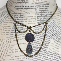 Steampunk Vintage Necklace and Earring Set in Blue and Gold