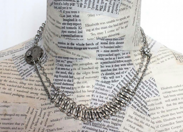 Dieselpunk Steampunk Metalwork Statement Flower Silver Necklace