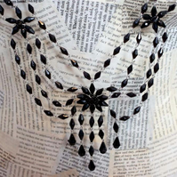 SALE Steampunk Vintage Statement Ribbon Diamonte Bead Silver Necklace