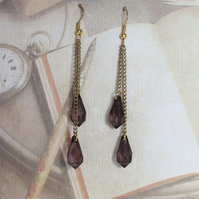 Steampunk Victorian Gold and Black Teardrop Dangle Hook Gold Earrings