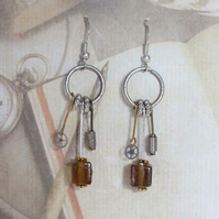 Steampunk Dieselpunk Dangle Hook Silver Earrings