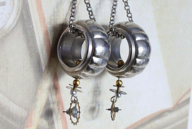 Steampunk Dieselpunk Statement Dangle Hook Silver Earrings