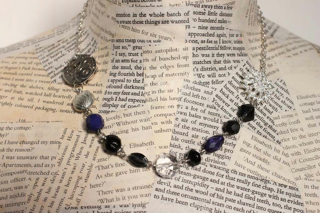 Vintage Steampunk Statement Beaded Silver Necklace