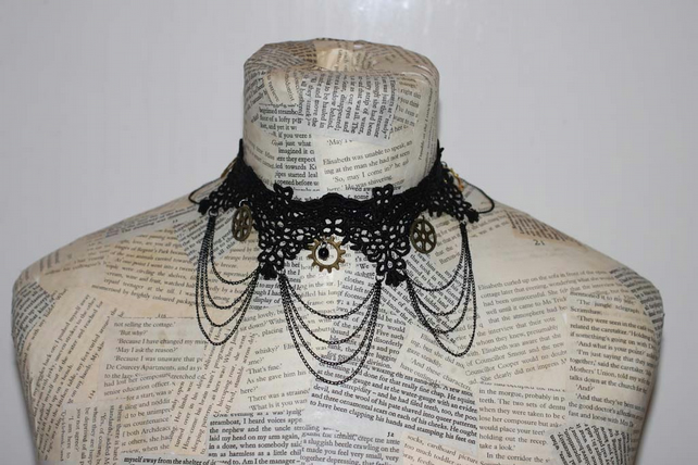 Steampunk Vintage Black Lace Choker Necklace