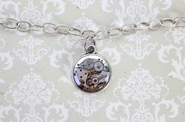Steampunk Vintage Watch Part Charm Silver Bracelet