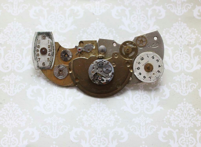 SALE Upcycled Repurposed Steampunk Vintage Watch Statement Handmade Brooch Pin