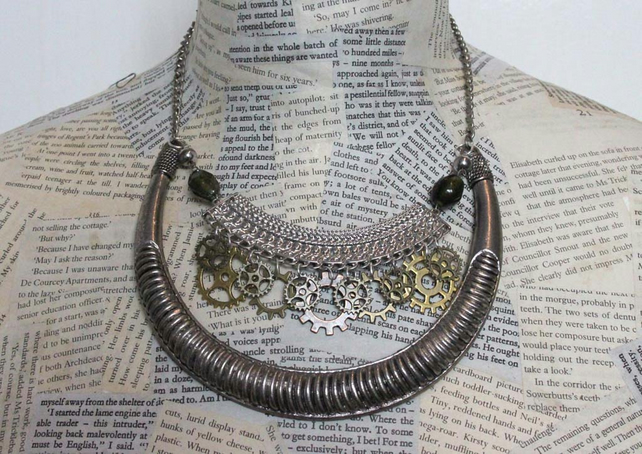 Silver Steampunk Dieselpunk Cog Statement Necklace