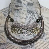 SALE Silver Steampunk Dieselpunk Cog Statement Necklace