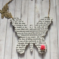Fairy Tale Alice in Wonderland Page Quote Butterfly Rose Charm Gold Necklace
