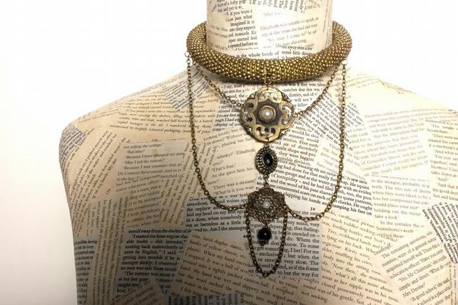Vintage Steampunk Statement Charm Antique Gold Beaded Choker Necklace