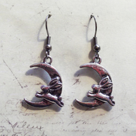 Love You To The Moon and Back Rabbit Moon Charm Dangle Hook Silver Earrings