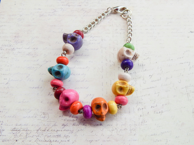SALE Chunky Day of the Dead Sugar Skull Kitsch Bracelet