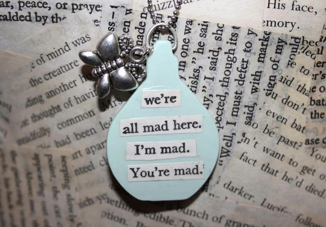 Fairy Tale Alice in Wonderland Book Quote Butterfly Charm Silver Necklace