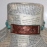 Copper Embossed Turquoise Heart Choker Necklace