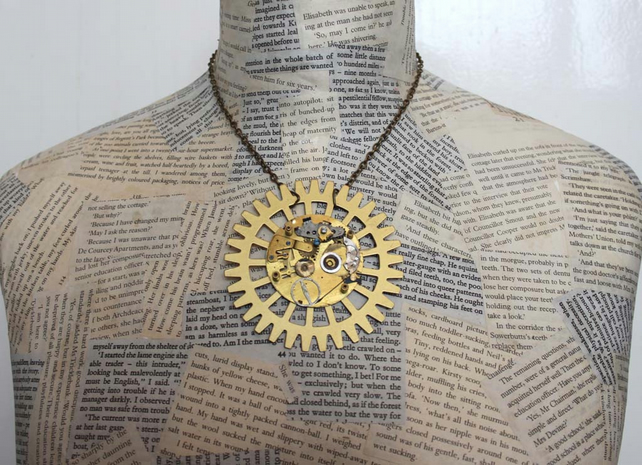 Steampunk Vintage Giant Cog Statement Gold Necklace