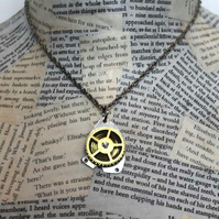 Repurposed Upcycled Steampunk Vintage Coil Cog Silver Necklace