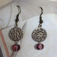 SALE Metal Filigree Purple Bead Dangle Hook Gold Earrings